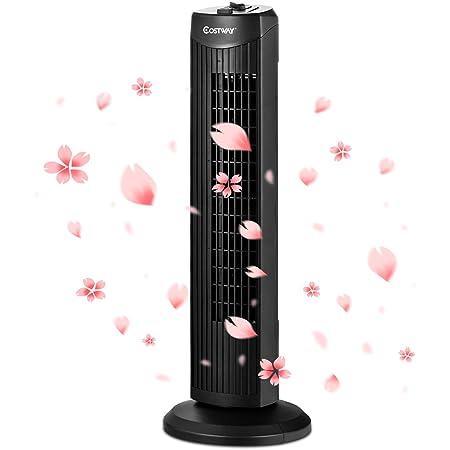 COSTWAY Ventilateur Colonne Tour Silencieux 45W Sans Lames avec Fonction d'Oscillation Activable à 60°et Hauteur 70,5CM 3 Niveaux de Vitesse Moteur en Cuivre,Noir pour Chambre,Bureau