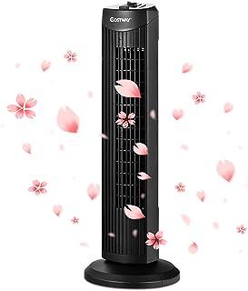 COSTWAY Ventilateur Colonne Tour Silencieux 45W Sans Lames avec Fonction d'Oscillation Activable à 60°et Hauteur 70,5CM 3 ...