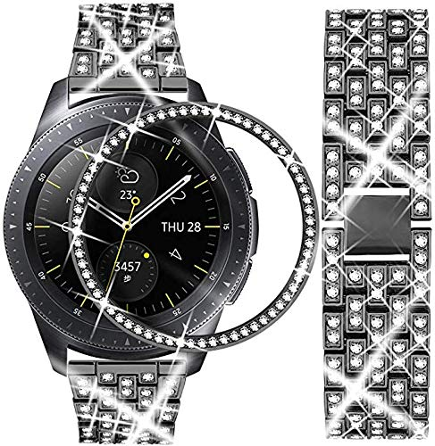 GVFM Bling Band Compatible with Samsung Galaxy Watch 46mm/22mm + Bling Bezel, Jewelry Stainless Steel Watchband and Bezel Ring Cover Diamond Strap 46mm/22mm (Black, 22mm+Bezel Ring)
