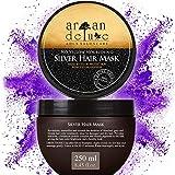 Mascarilla de plata Argan Deluxe de alto nivel, avalado para peluquerías 250 ml - tratamiento capilar para neutralizar tonos amarillos y obtener un brillo extra sedoso.