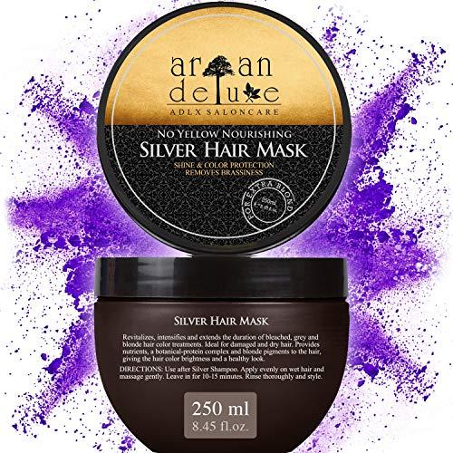 Argan Deluxe Silber-Haarmaske in Friseur-Qualität 250 ml - Haar-Kur zu Silber-Shampoo für extra seidige Strahlkraft - mit effektivem Anti-Gelbstich Effekt.