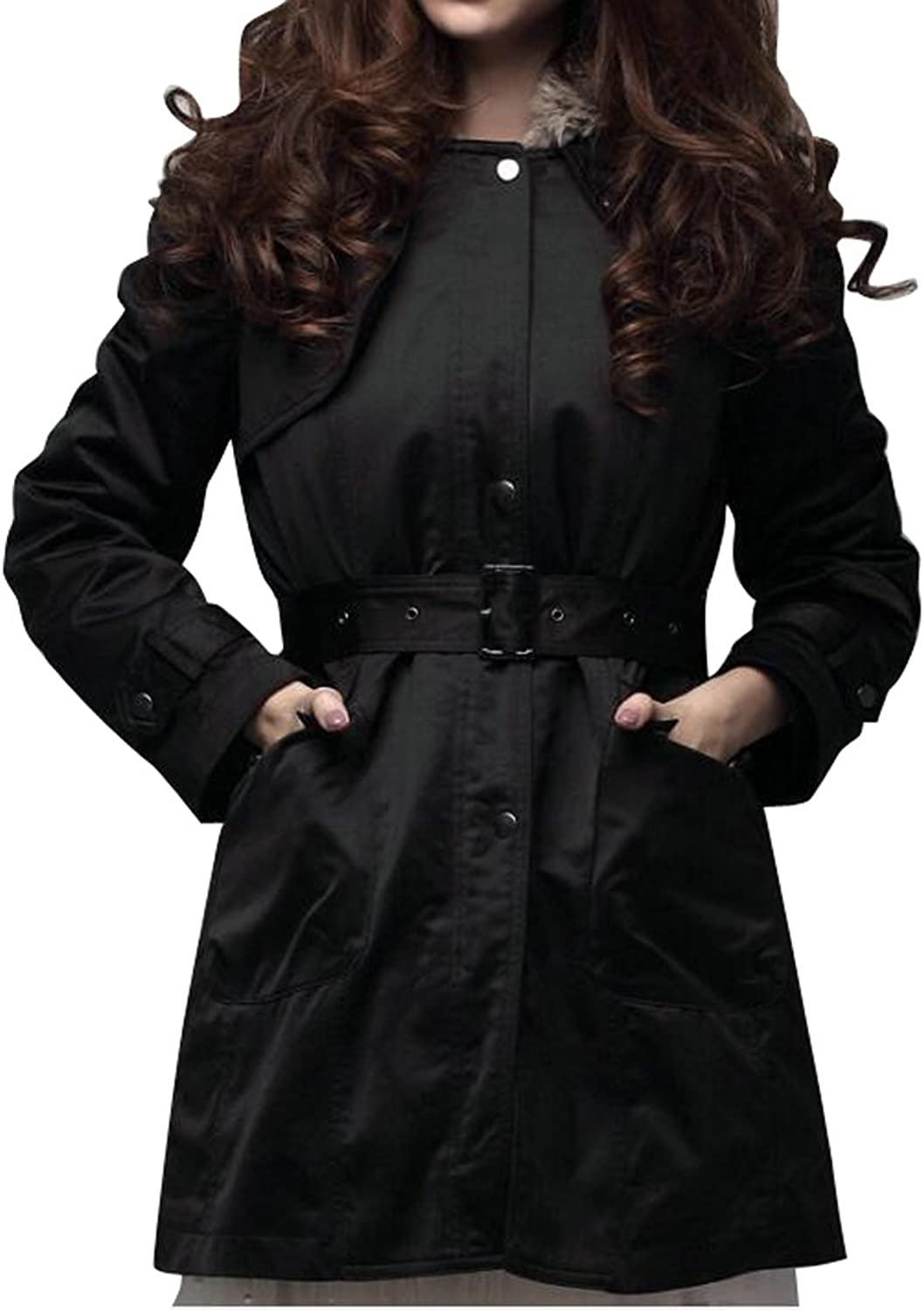 WAYAWomen Winter Thicken Coat Faux Fur Lined Hood Belted Quilted Jacket Overcoat