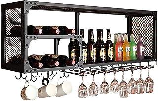 ZHXYY Organiser la Cuisine Supports à vin Suspendus muraux Noirs Porte-Bouteilles de vin de Bar de Style Vintage Supports ...