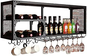 Black Wall Mounted Hanging Wine Racks Vintage Style Bar Wine Bottle Holder Goblet Racks Wine Shelves Storage Holder for Li...