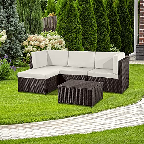 Guaranteed4Less Rattan Garden Furniture Patio Corner Sofa Set Lounger Table Outdoor Conservatory (Brown)