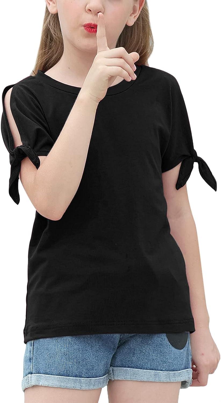 GORLYA Girl's Max 54% OFF Cut Genuine Slit Sleeve Tie Tunic Knot T-Shirt Stripe Cuff