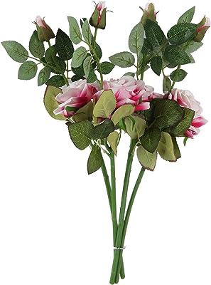 Fourwalls Artificial Beautiful Single Velvet Rose Stick (45 cm Tall, 2 Heads, Set of 2, White/Pink)
