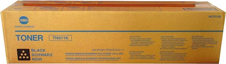 Konica Minolta A070130 / TN611k Black Laser Toner Cartridge, Works for Bizhub Bizhub C550, Bizhub C650