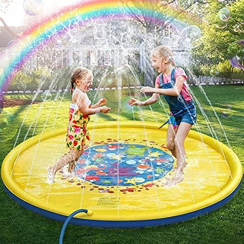 Anillo natacion Splash Pad para Rociadores para Niños, Alfombrillas Splash Play de 67 Pulgadas, Piscina Al Aire Libre de Las Almohadillas de Chapoteo del Kiddie del Agua Exterior para Bebés y Niños Pe