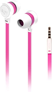iLuv In-Ear High Performance Stereo Earphones for iPhone, iPad, iPod, SAMSUNG, LG, Google Next, Others phones, tablets and MP3 (White/Pink)