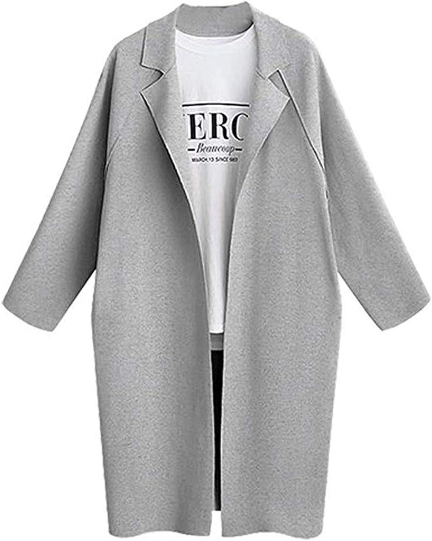 Cloudless Women's Lapel Long Sleeve Long Cardigan Thin Trench Coat Jacket Outwear