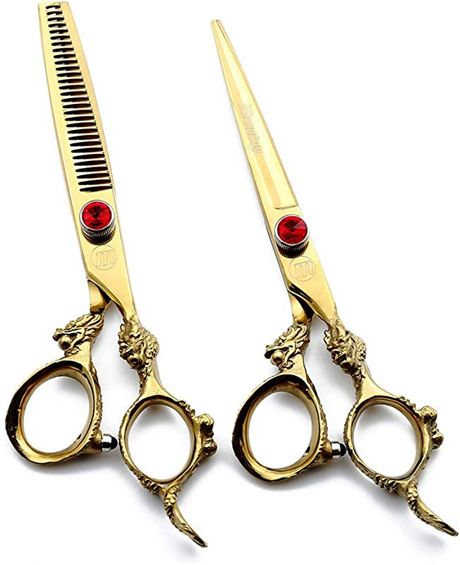 NSST Hairdressing Scissors 6 Inch Adjustable Gold Diamond Professional Set 2 Pcs Japanese Stainless Steel Family Hair Cutting Thinning Scissors Set Salon Scissors