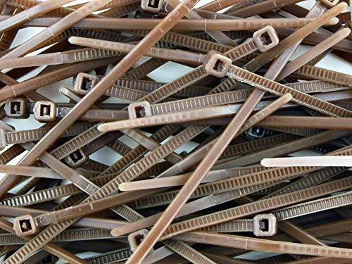100x Kabelbinder 140mm x 3,6mm, braun, hochwertig, Kunststoff-/Nylon-Kabelbänder
