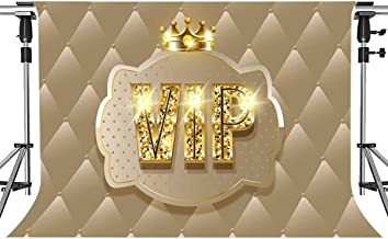 VIP Backdrop for Photography Beige Crown VIP Background for Baby Shower Graduation Party Hollywood Golden VIP Party Backdrop Props MEETSIOY 7x5ft HXMT271