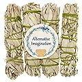 Alternative Imagination Premium California White Sage 4 Inch Smudge Sticks Brand. (4 Pack)