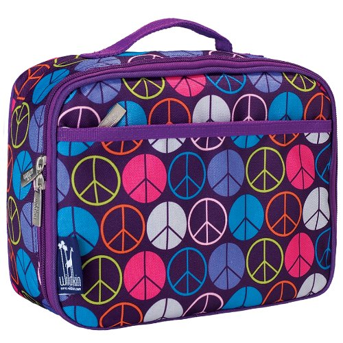 Wildkin Kids Insulated Lunch Box Bag for Boys and Girls, Perfect Size for Packing Hot or Cold Snacks for School & Travel, Measures 9.75 x 7.5 x 3.25 Inches, Mom's Choice Award Winner (Peace Signs)