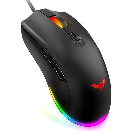 havit Ratón Gaming RGB 6 Botones Mouse Gaming programables Iluminación RGB [800-1600-2400-4800] para Windows7/8/10/Xp/Vista/Linux(MS732)