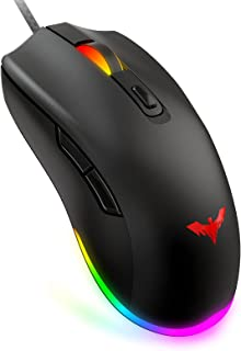 Havit RGB Gaming Mouse Wired PC Gaming Mice with 7 Color Backlight, 6 Buttons, Up to 6400 D P I Computer USB Mouses for De...