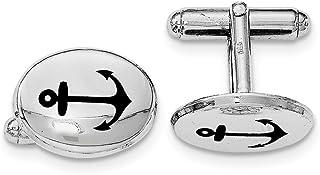 Diamond2deal - Gemelos ovalados de Plata de Ley chapados en rodio con Anclaje Negro