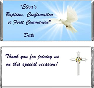 Personalized Custom Blue Dove Baptism, Confirmation or 1st Communion Religious Chocolate Candy Bar Wrappers & Foils Set of 24