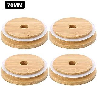 4PCS Mason Jar Lids,ECO ReusableWooden Durable Lids, Regular Mouth Bamboo Jar Lids For Wide Mouth Mason Jars Canning Jars ...