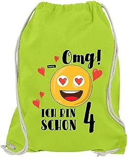 Hariz OMG - Bolsa de Deporte, diseño de Emoticono con Texto en alemán, Color Limette Grün, tamaño Talla única