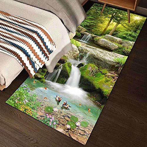 Verde Alfombra Pequeña Dormitorio Paisaje moderno Estilo chino Salón de cama Salón Dormitorio Decoración Larga Alfombra alfombra infantil carretera alfombras salon baratas alfombras para coci200x300CM