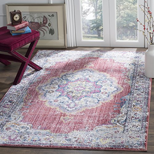 Safavieh Bristol Collection BTL343B Fuchsia Pink and Light Grey Vintage Bohemian Medallion Area Rug (6' x 9')