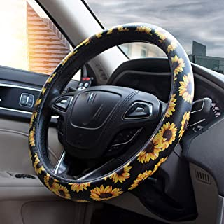 Forala Car Steering Wheel Cover Microfiber Leather Universal Fit for 15 Inch Floral Print for Women