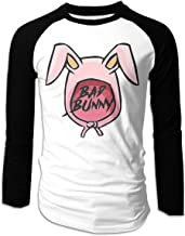 Eowlte Bad Bunny Men's Raglan Long Sleeve Athletic Casual Baseball T-Shirt Black