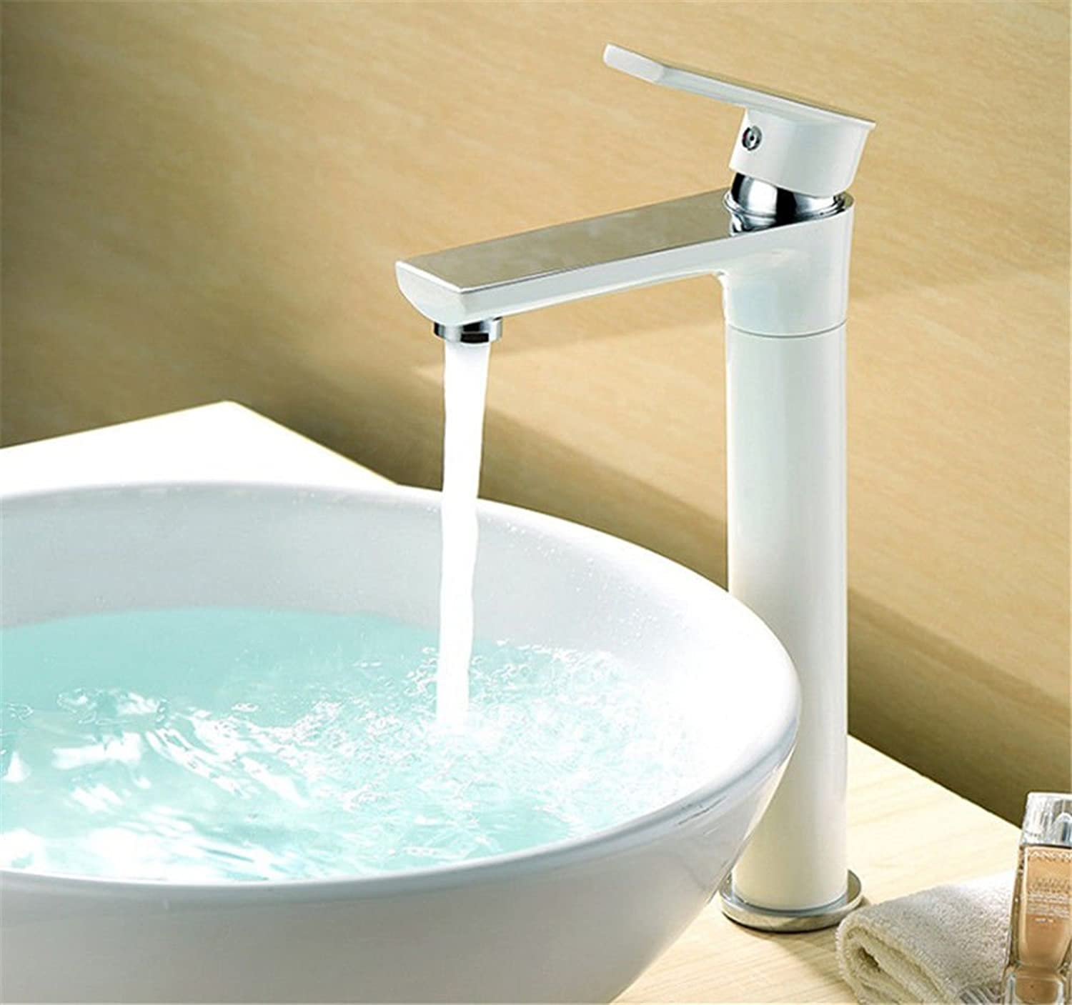AQMMi Basin Taps Bathroom Sink Faucet Brass Hot and Cold Water White Stoving Lacquer Single Lever 1 Hole Single Lever Bathroom Sink Faucet Basin Mixer Tap