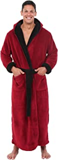 Men's Warm Fleece Robe with Hood, Big and Tall Contrast...