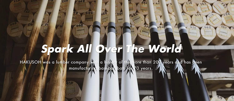 Made in Japan 2.5 Dropweight HAKUSOH Spark Power Bat Black Colorway Wooden Baseball Bat Maple Wood