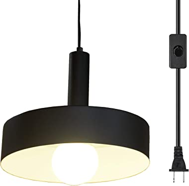 Ganeed Plug in Pendant Lights,Industrial Vintage Hanging Lamp, Swag Lighting,Island Kitchen Farmhouse Chandelier Light Fixtures with 16.4ft Cord On/Off Switch,Matte Black