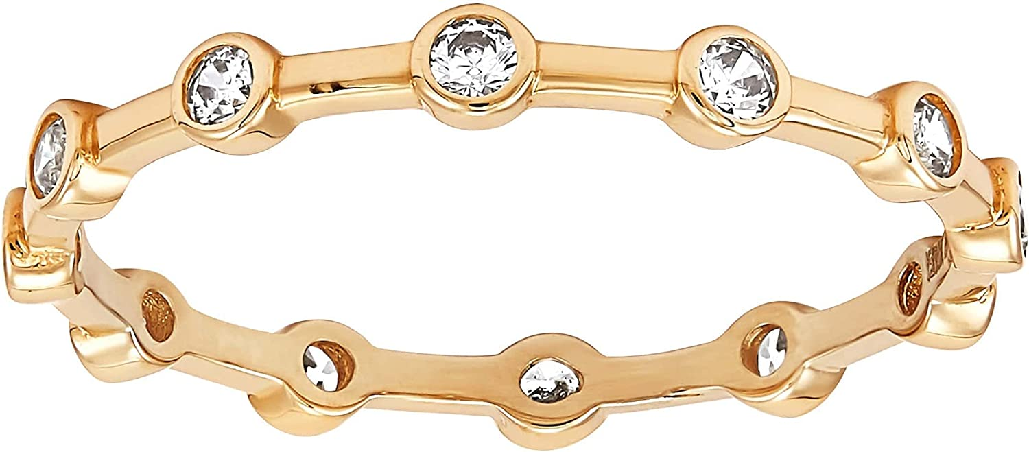 Welry 'Rosary Band with Cubic Zirconias' in 14K Yellow Gold Ring