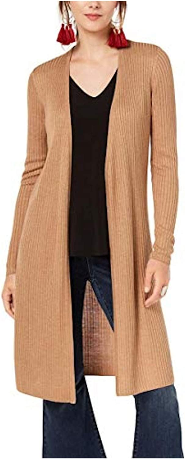 INC International Concepts Ribbed Duster Cardigan (Heather Ginger, XL)