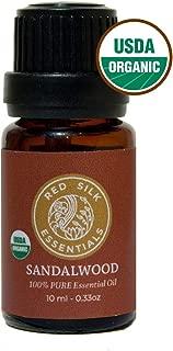 Organic Indian Sandalwood Essential Oil, 100% Pure USDA Certified Organic Santalum Album - 10ml Undiluted