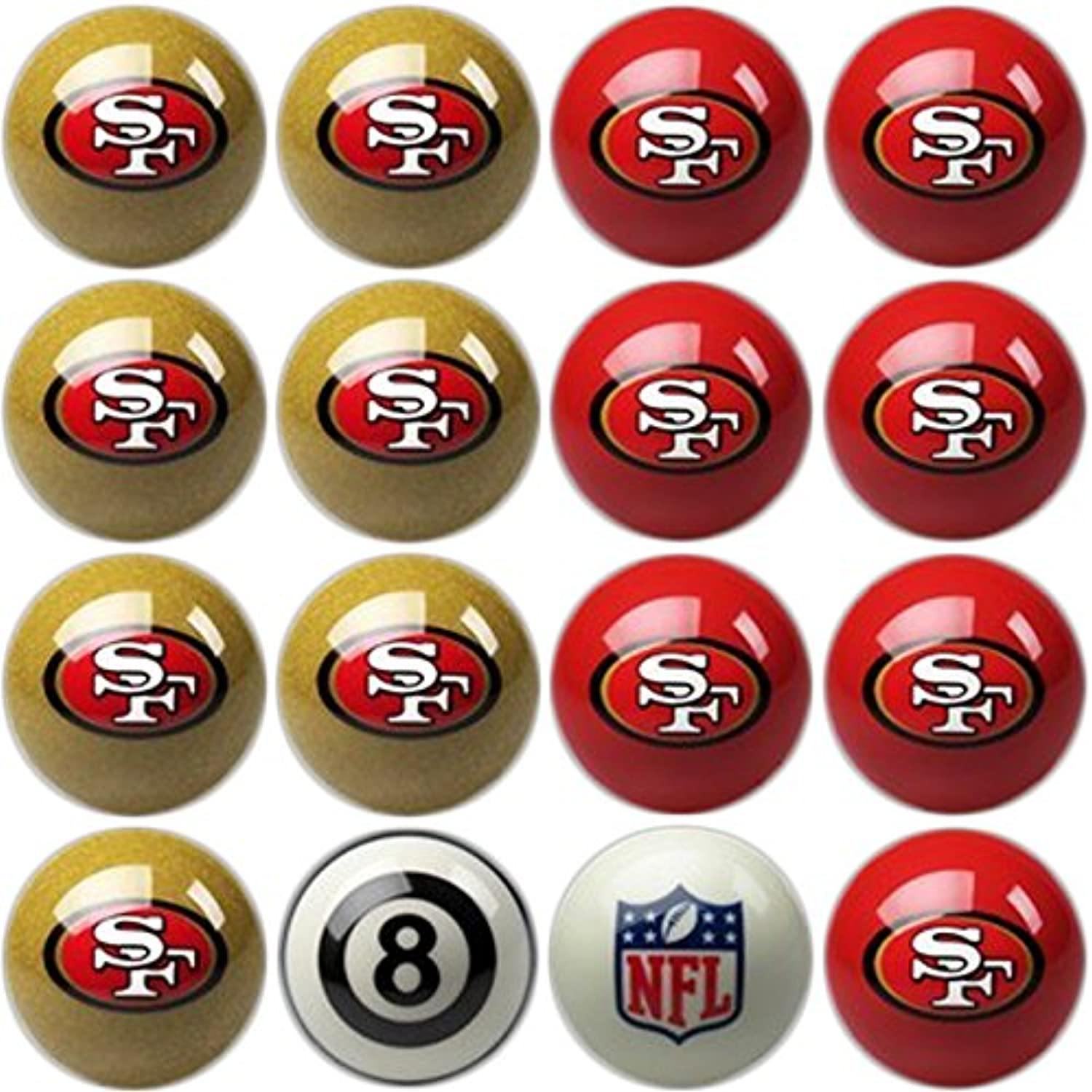 Imperial Officially Licensed NFL Merchandise  Home vs. Away Billiard Pool Balls, Complete 16 Ball Set, San Francisco 49ers
