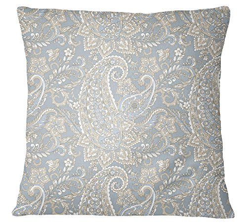 s4sassy decorativo gris funda de almohada Paisley Print Throw cuadrado funda de almohada–elegir tamaño, raso, gris, 22 x 22 Inches
