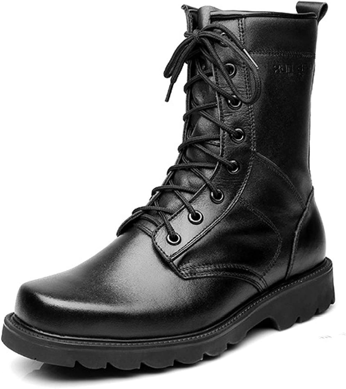 Men's Full Leather Army Military Combat Boots Tactical Hiking Boots Commando Outdoor Lace-up Desert Boots Patrol Ecurity Police shoes