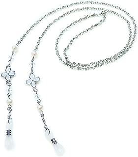 白いお花 & パール と スワロフスキー メガネチェーン 眼鏡 チェーン グラスコード めがねチェーン メガネチェーン 淡水真珠 淡水パール