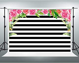 GESEN Watercolor Pink Rose Flowers Background 7x5ft Black and White Stripes Photo Backdrop with Pocket Birthday Wedding Themed Party Decorations Photo Studio Props LSGE212