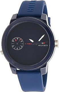 ساعة بمينا زرقاء وسوار سيليكون للرجال من تومي هيلفجر - 1791325