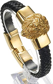 Granny Chic Mens Large Braided Leather Bracelet with Stainless Steel Lion and Black Genuine Leather Straps