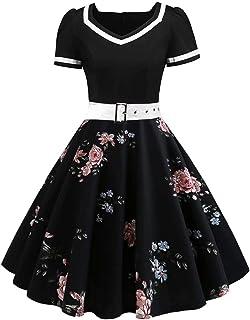 Babyonlinedress - Vestito da sera chic con cintura, vintage anni '50, pin-up Rockabilly Swing a pois
