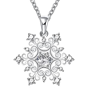 KassarinShop Fashion Zircon Hollow Snowflake Pendant Necklace For Women 18K Rose Gold Xl518