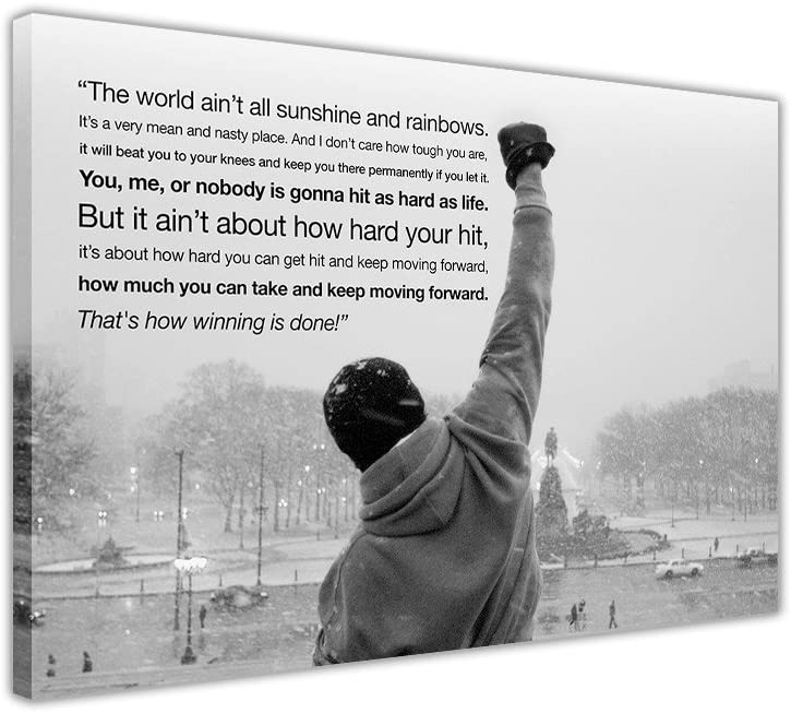Canvas Wall Art Prints Iconic Rocky Balboa Hope Quote Black And White Landscape Hollywood Movie Photo Print Picture Home Decor Amazon Co Uk Kitchen Home