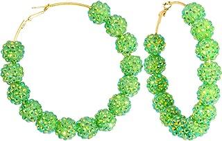 3 Inch Lime Green Sparkle Ball Hoop Earrings