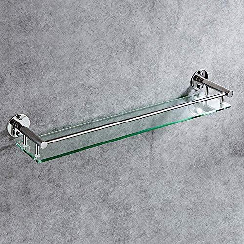 Badkamer Glazen Plank Badkamer Wandplank Douchebak Douche Kamer 304 RVS Wandmontage Badkamer Plank Glas (Maat: 44cm) 44cm/17.3inch
