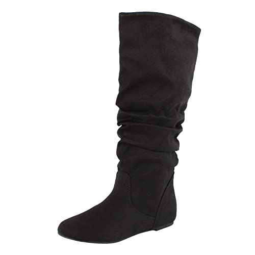 ba16b0dbcbfa SODA Women s Zuluu Slouchy Faux Leather Knee HIgh Flats Boots
